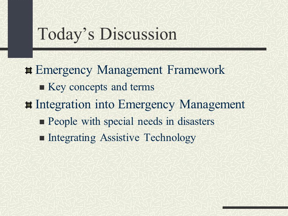 Key Organizations Emergency Management Assistance Compact (EMAC) Congressionally ratified organization for interstate mutual aid Impacted states can request and receive assistance from other member states Voluntary Organizations Active in Disaster (VOAD) State and local counterparts