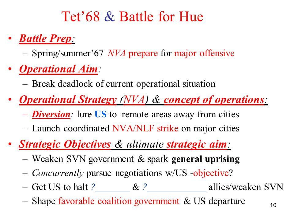 10 Tet'68 & Battle for Hue Battle Prep: –Spring/summer'67 NVA prepare for major offensive Operational Aim: –Break deadlock of current operational situ