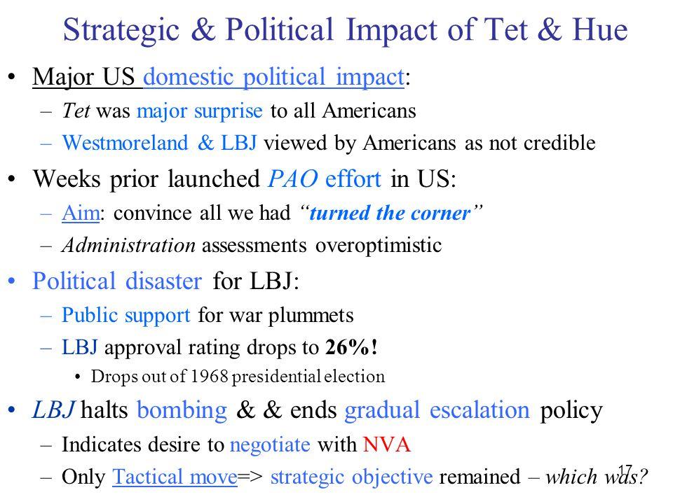 17 Strategic & Political Impact of Tet & Hue Major US domestic political impact: –Tet was major surprise to all Americans –Westmoreland & LBJ viewed b