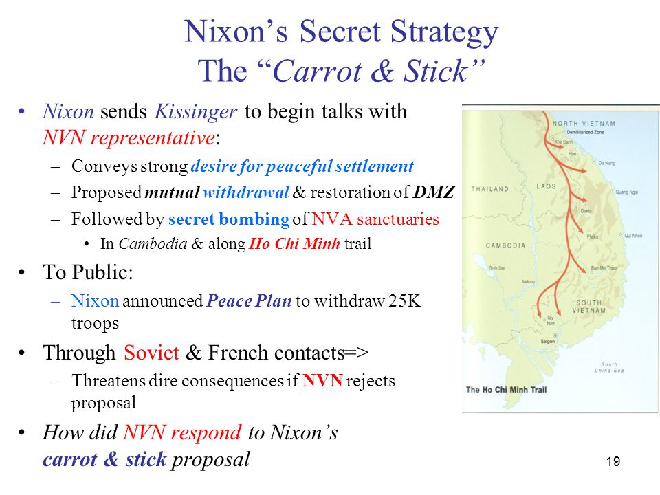 "19 Nixon's Secret Strategy The ""Carrot & Stick"" Nixon sends Kissinger to begin talks with NVN representative: –Conveys strong desire for peaceful sett"