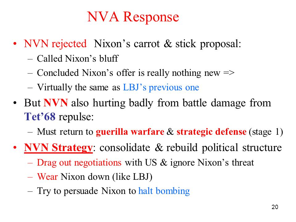 20 NVA Response NVN rejected Nixon's carrot & stick proposal: –Called Nixon's bluff –Concluded Nixon's offer is really nothing new => –Virtually the s