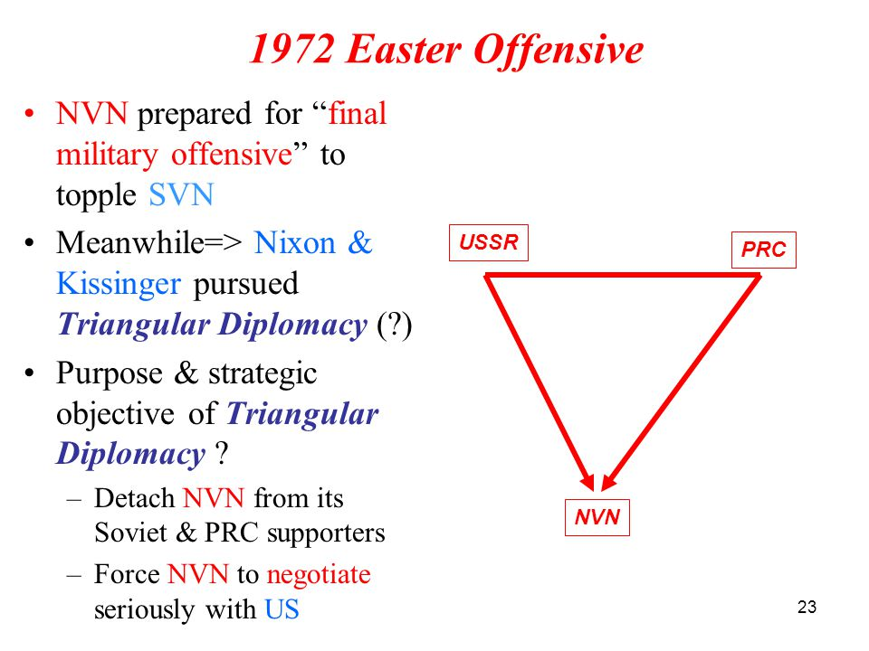 """23 1972 Easter Offensive NVN prepared for """"final military offensive"""" to topple SVN Meanwhile=> Nixon & Kissinger pursued Triangular Diplomacy (?) Purp"""