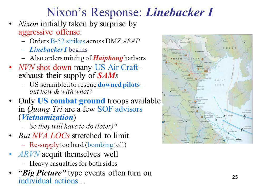 25 Nixon's Response: Linebacker I Nixon initially taken by surprise by aggressive offense: –Orders B-52 strikes across DMZ ASAP –Linebacker I begins –