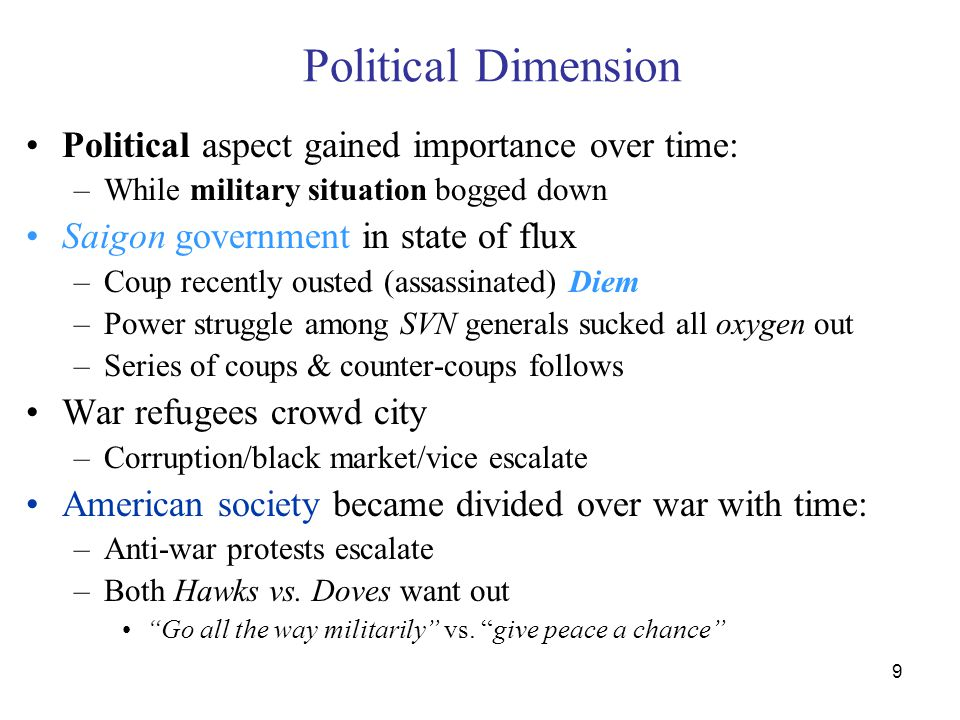 9 Political Dimension Political aspect gained importance over time: –While military situation bogged down Saigon government in state of flux –Coup rec
