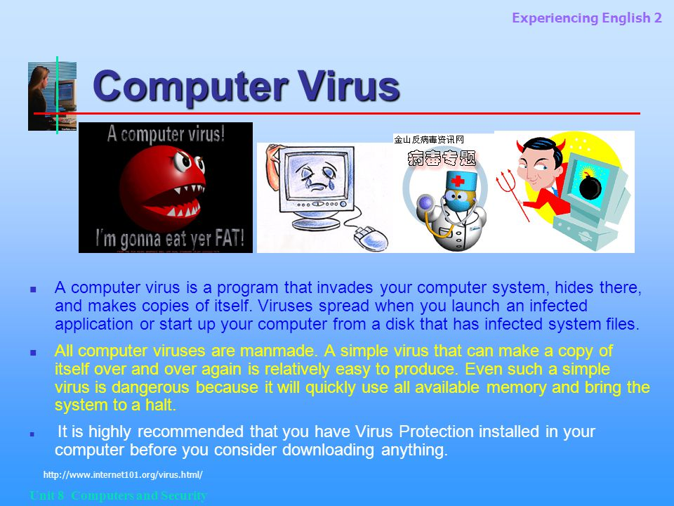 Experiencing English 2 Unit 8 Computers and Security Computer Virus A computer virus is a program that invades your computer system, hides there, and makes copies of itself.
