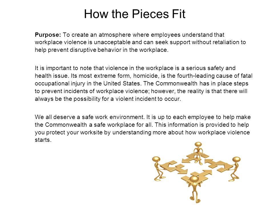 How the Pieces Fit Purpose: To create an atmosphere where employees understand that workplace violence is unacceptable and can seek support without re