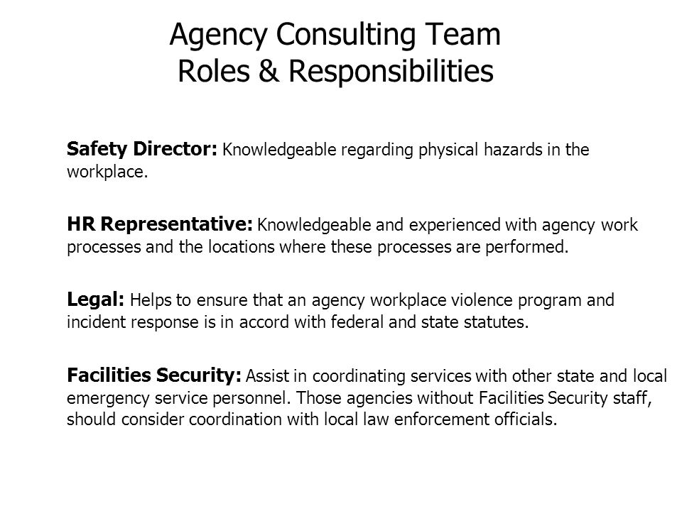 Agency Consulting Team Roles & Responsibilities Safety Director: Knowledgeable regarding physical hazards in the workplace. HR Representative: Knowled