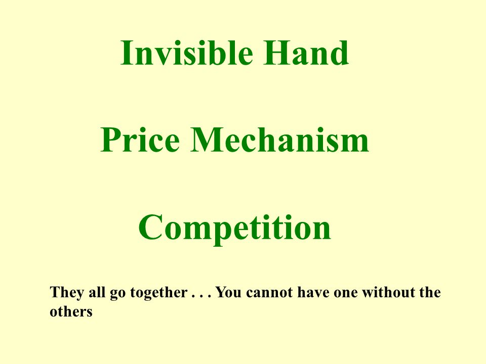 Invisible Hand Price Mechanism Competition They all go together... You cannot have one without the others