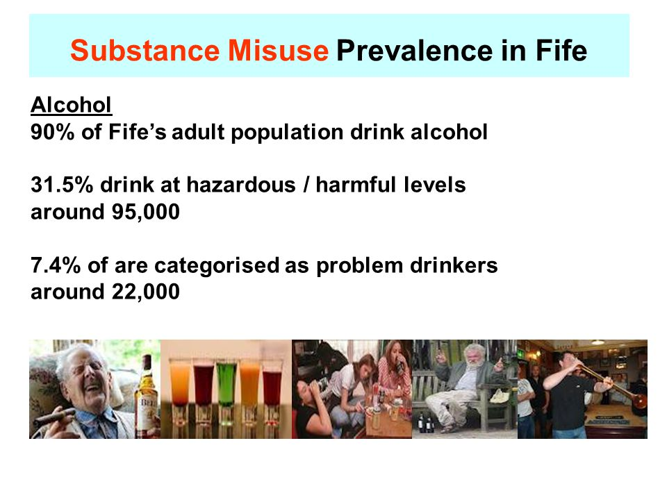 Substance Misuse Prevalence in Fife Alcohol 90% of Fife's adult population drink alcohol 31.5% drink at hazardous / harmful levels around 95,000 7.4% of are categorised as problem drinkers around 22,000