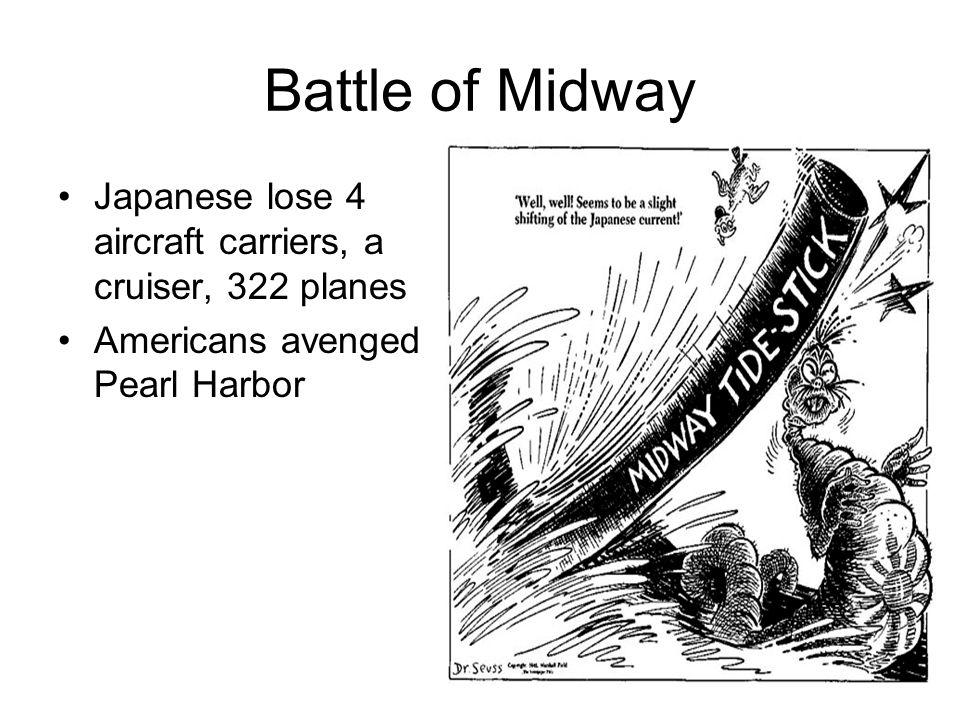 Battle of Midway Japanese lose 4 aircraft carriers, a cruiser, 322 planes Americans avenged Pearl Harbor