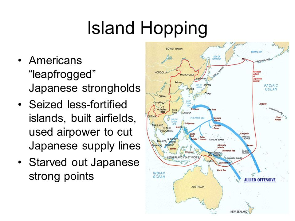 """Island Hopping Americans """"leapfrogged"""" Japanese strongholds Seized less-fortified islands, built airfields, used airpower to cut Japanese supply lines"""