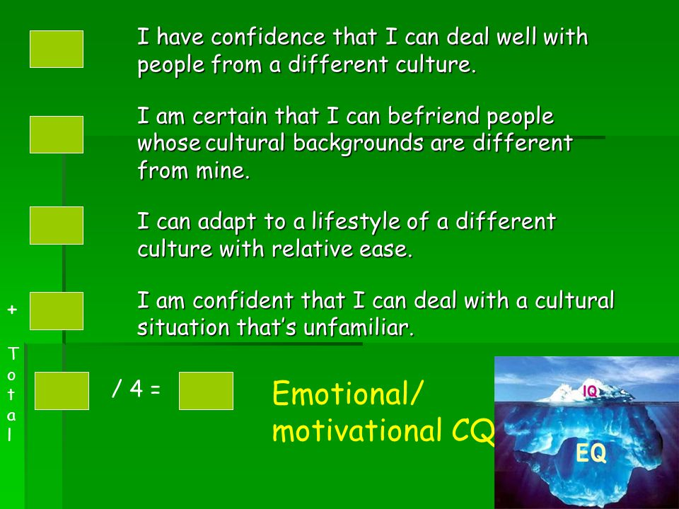 I have confidence that I can deal well with people from a different culture. I am certain that I can befriend people whosecultural backgrounds are dif