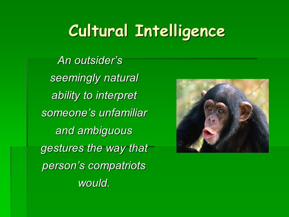 A person with high cultural intelligence can somehow tease out of person's or group's behaviour those features that would be true of all people and all groups, those peculiar to this person or this group, and those that are neither universal nor idiosynoratic.