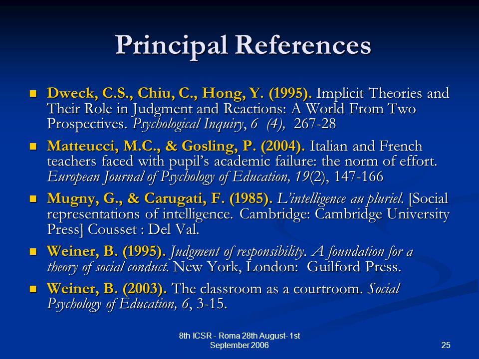 25 8th ICSR - Roma 28th August- 1st September 2006 Principal References Principal References Dweck, C.S., Chiu, C., Hong, Y.