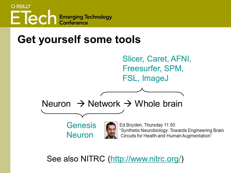 Neuron  Network  Whole brain Genesis Neuron Slicer, Caret, AFNI, Freesurfer, SPM, FSL, ImageJ Get yourself some tools See also NITRC (http://www.nitrc.org/)http://www.nitrc.org/ Ed Boyden, Thursday 11:50 Synthetic Neurobiology: Towards Engineering Brain Circuits for Health and Human Augmentation