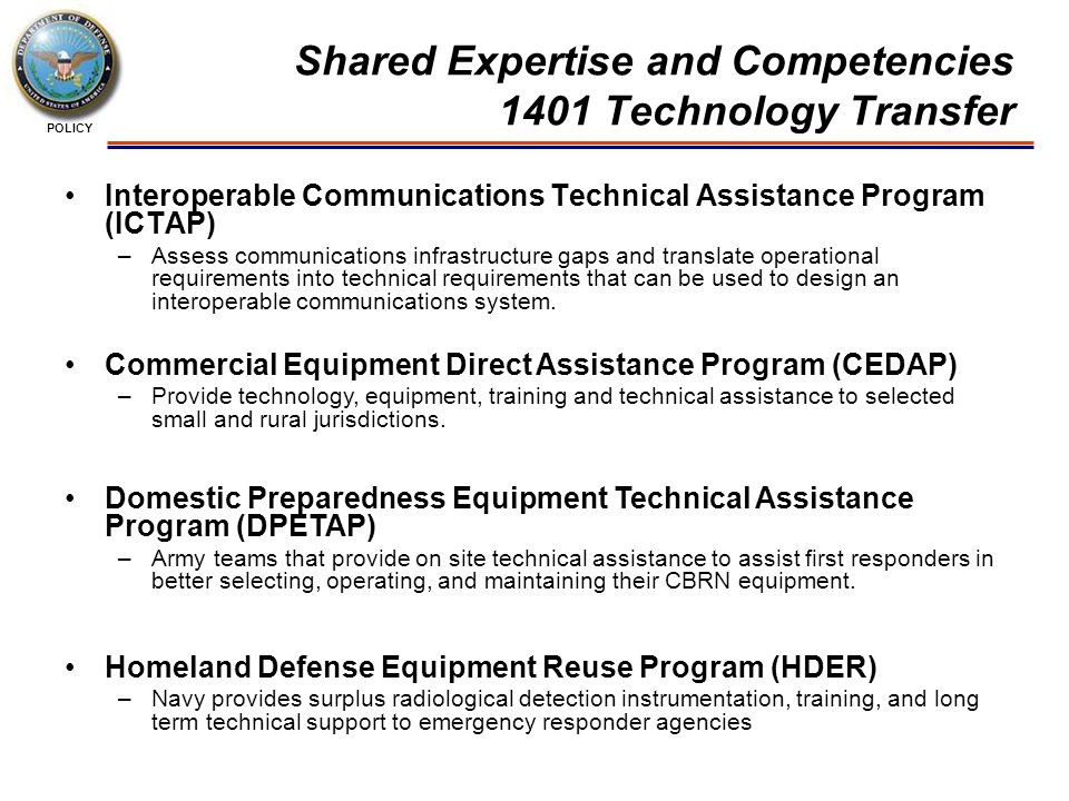 POLICY Shared Expertise and Competencies 1401 Technology Transfer Interoperable Communications Technical Assistance Program (ICTAP) –Assess communications infrastructure gaps and translate operational requirements into technical requirements that can be used to design an interoperable communications system.