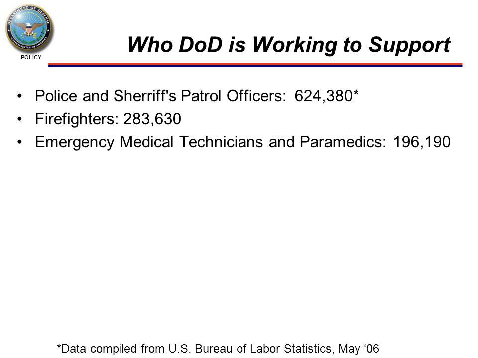 POLICY Who DoD is Working to Support Police and Sherriff s Patrol Officers: 624,380* Firefighters: 283,630 Emergency Medical Technicians and Paramedics: 196,190 *Data compiled from U.S.