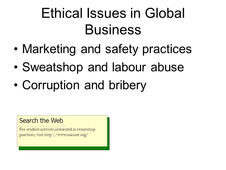 Ethical Issues in Global Business Marketing and safety practices Sweatshop and labour abuse Corruption and bribery Search the Web For student activists interested in sweatshop practices, visit http://www.usasnet.org/