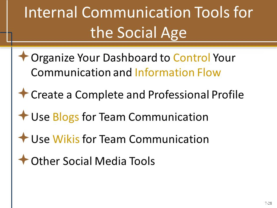 7-28 Internal Communication Tools for the Social Age  Organize Your Dashboard to Control Your Communication and Information Flow  Create a Complete and Professional Profile  Use Blogs for Team Communication  Use Wikis for Team Communication  Other Social Media Tools