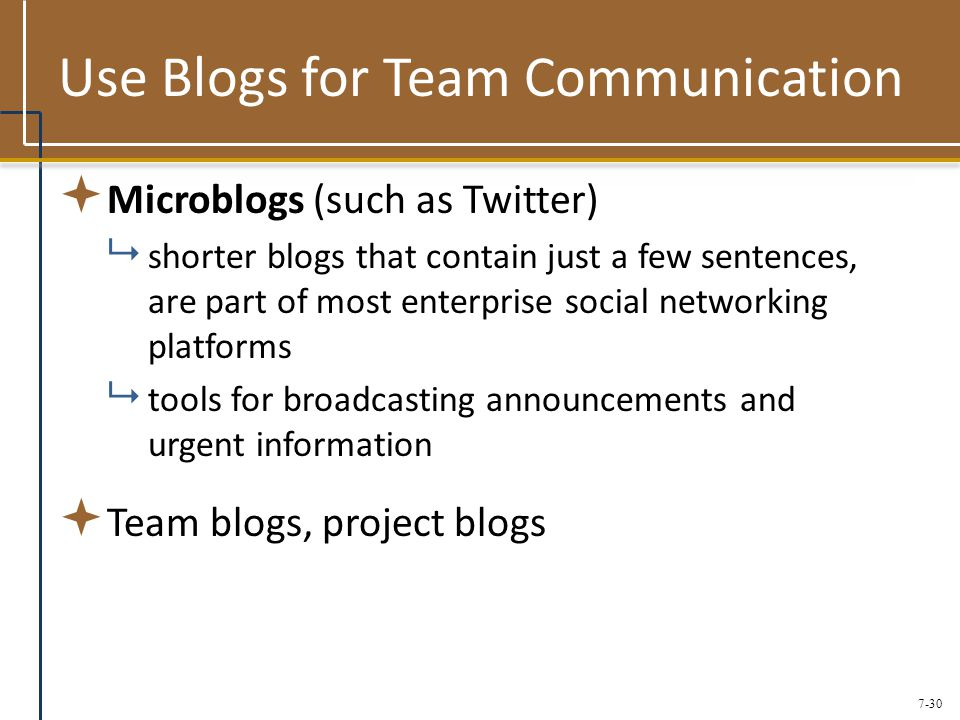 7-30 Use Blogs for Team Communication  Microblogs (such as Twitter)  shorter blogs that contain just a few sentences, are part of most enterprise social networking platforms  tools for broadcasting announcements and urgent information  Team blogs, project blogs