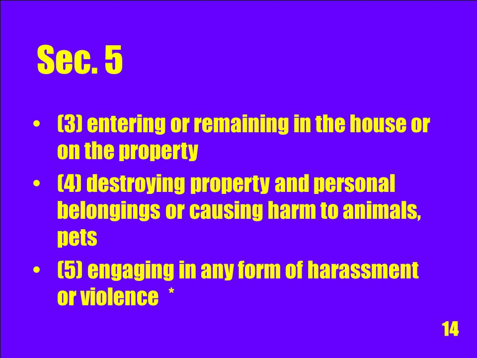 Sec. 5 Acts Engaging in knowing or reckless conduct, personally or through another, that alarms or causes substantial emotional or psychological distr