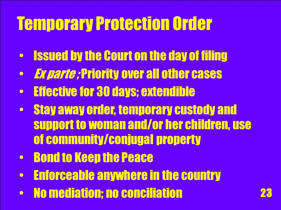 Venue for Protection Order Family Court where the woman resides, or If none, file it in the RTC, Metropolitan Trial Court, Municipal Trial Court, or M