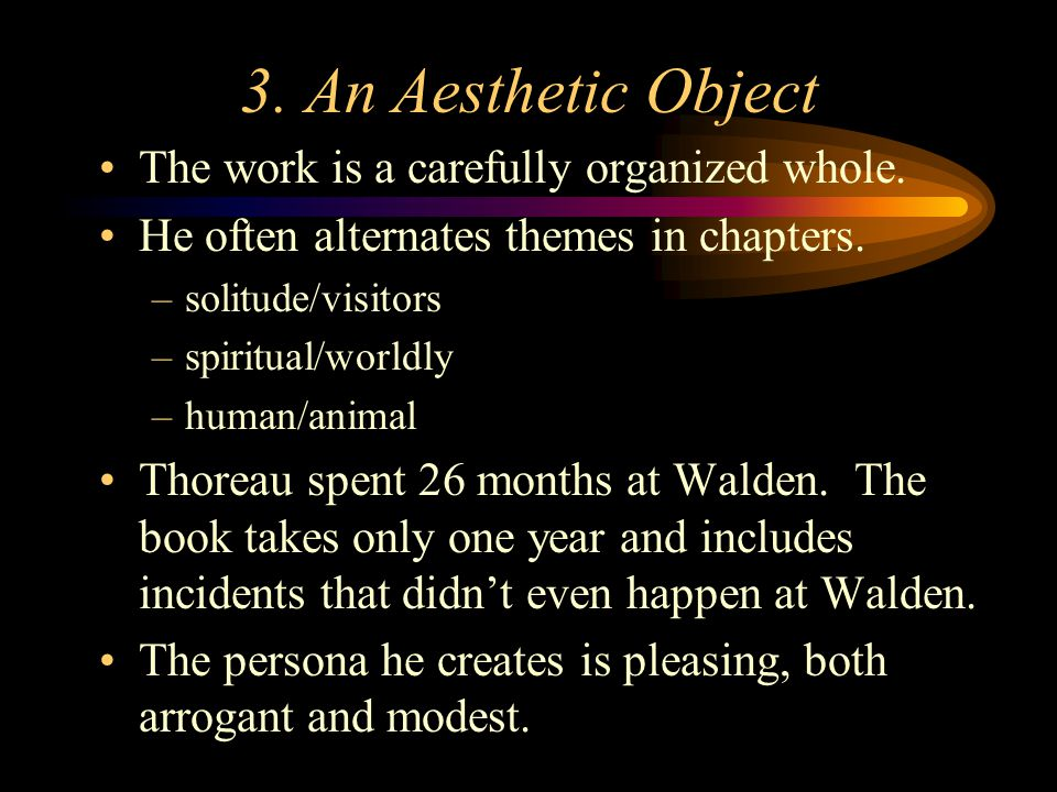3. An Aesthetic Object The work is a carefully organized whole.