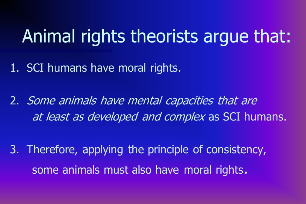 1. SCI humans have moral rights. 2.