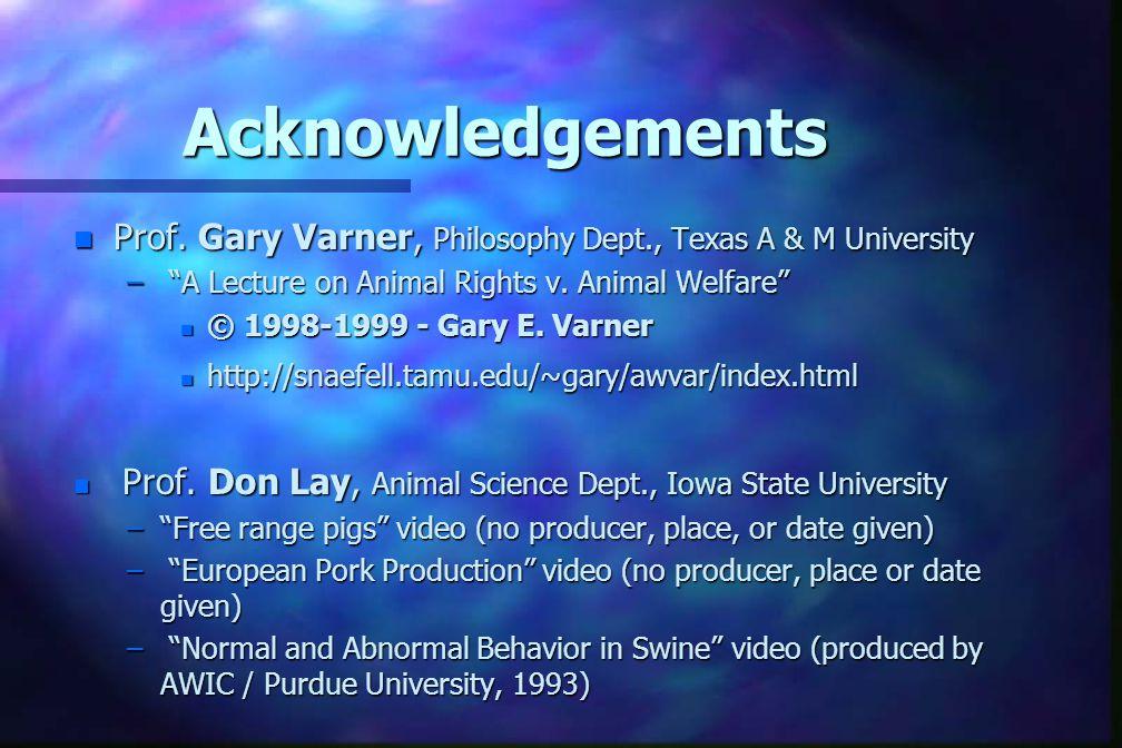 Acknowledgements n Prof.