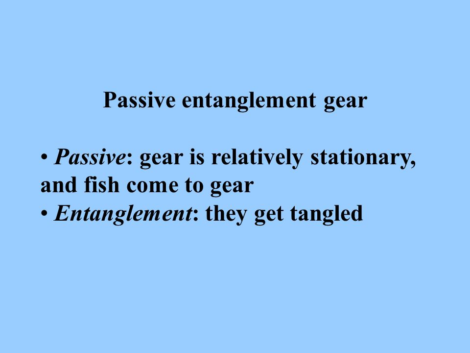 Passive entanglement gear Passive: gear is relatively stationary, and fish come to gear Entanglement: they get tangled