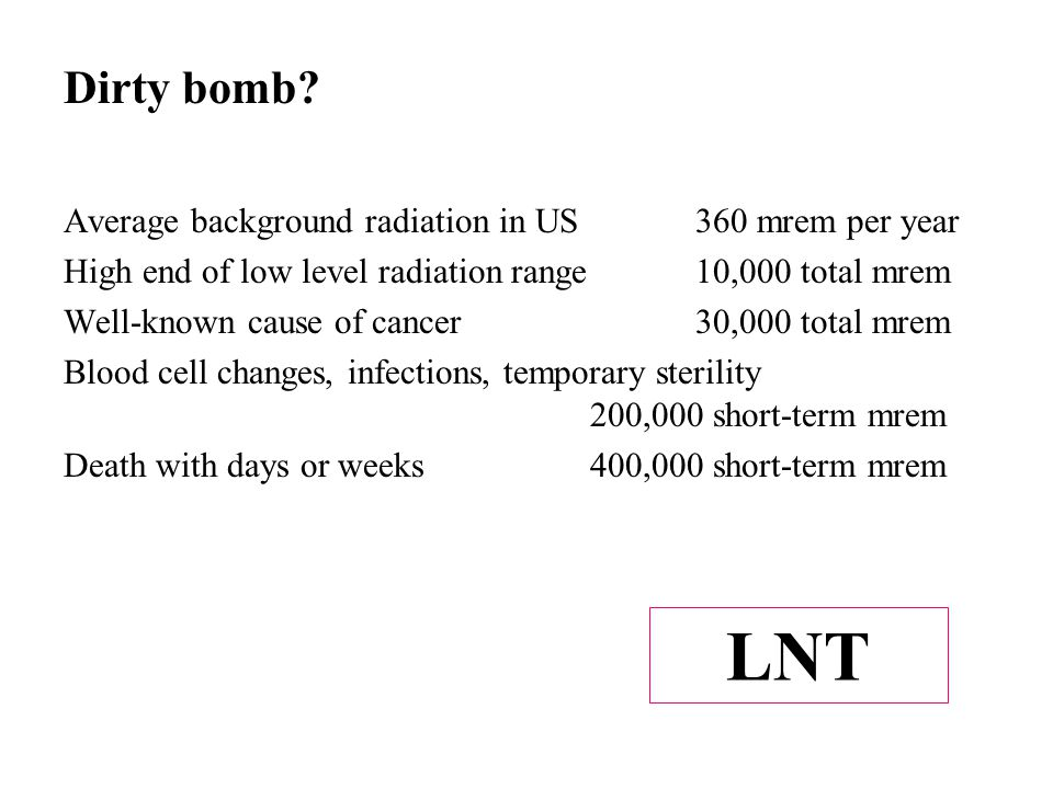Average background radiation in US360 mrem per year High end of low level radiation range10,000 total mrem Well-known cause of cancer30,000 total mrem Blood cell changes, infections, temporary sterility 200,000 short-term mrem Death with days or weeks400,000 short-term mrem Dirty bomb.