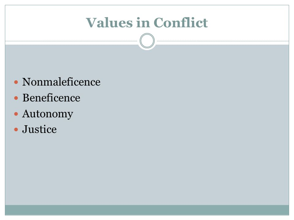 Values in Conflict Nonmaleficence Beneficence Autonomy Justice