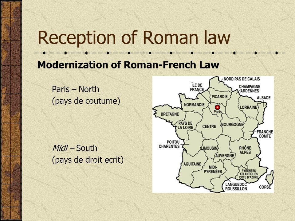 Reception of Roman law Modernization of Roman-French Law Paris – North (pays de coutume) Midi – South (pays de droit ecrit)