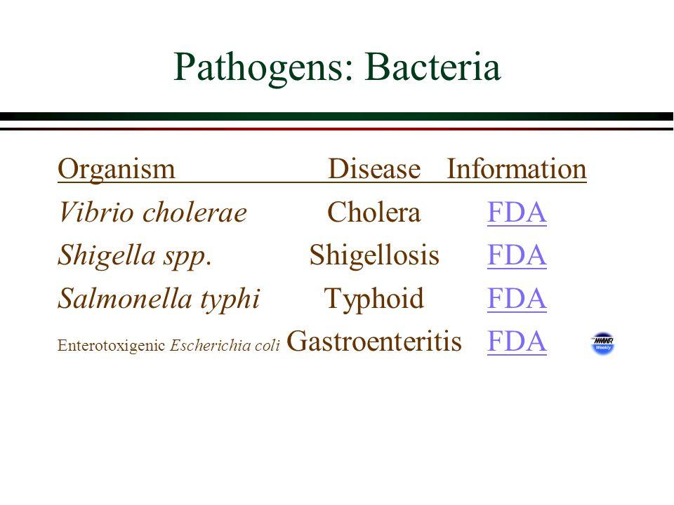 Pathogens: Bacteria OrganismDiseaseInformation Vibrio choleraeCholeraFDAFDA Shigella spp.Shigellosis FDAFDA Salmonella typhiTyphoidFDAFDA Enterotoxigenic Escherichia coli GastroenteritisFDAFDA