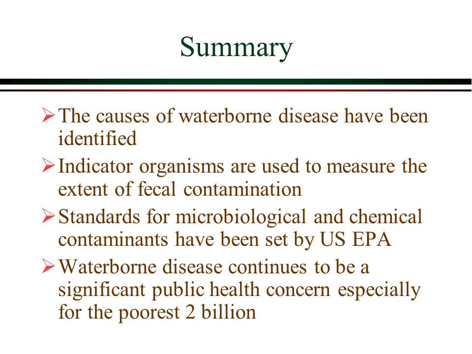 Summary  The causes of waterborne disease have been identified  Indicator organisms are used to measure the extent of fecal contamination  Standards for microbiological and chemical contaminants have been set by US EPA  Waterborne disease continues to be a significant public health concern especially for the poorest 2 billion
