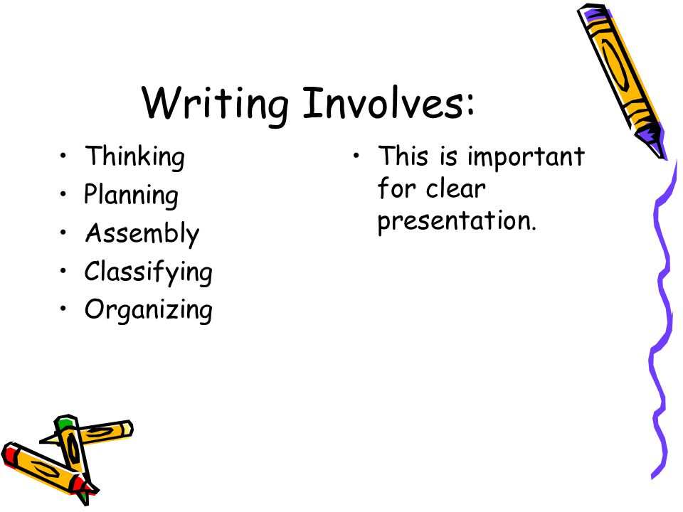 Writing Involves: Thinking Planning Assembly Classifying Organizing This is important for clear presentation.