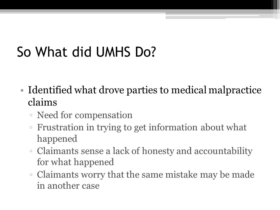 So What did UMHS Do.