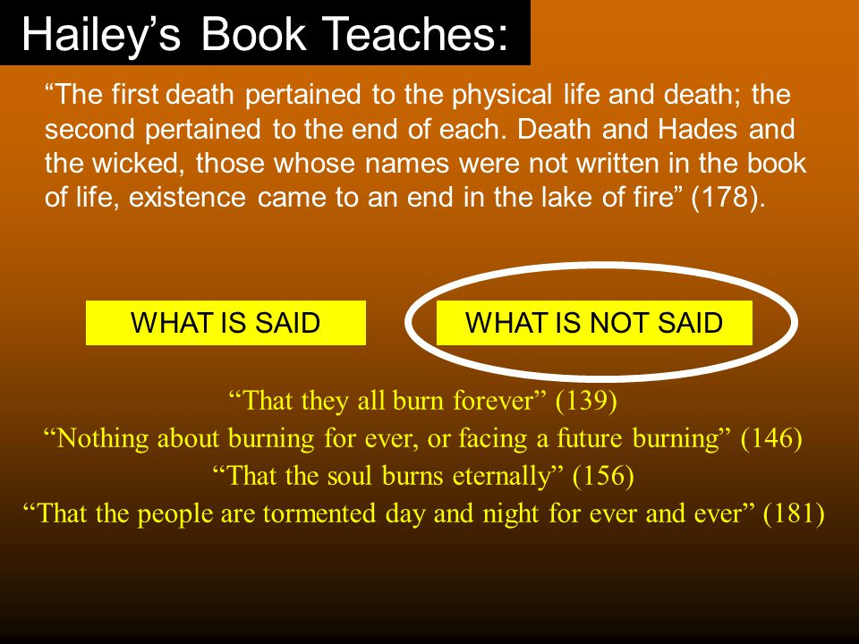 Hailey's Book Teaches: The first death pertained to the physical life and death; the second pertained to the end of each.