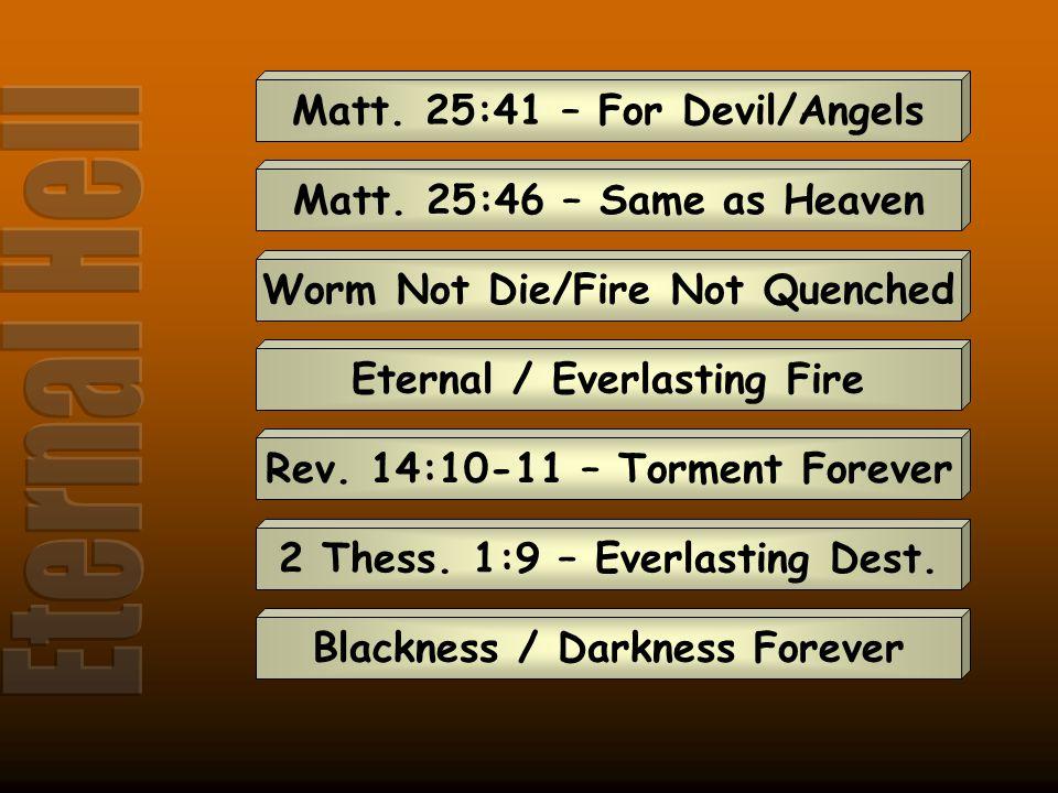 Matt. 25:41 – For Devil/Angels Matt. 25:46 – Same as Heaven Worm Not Die/Fire Not Quenched Eternal / Everlasting Fire Rev. 14:10-11 – Torment Forever
