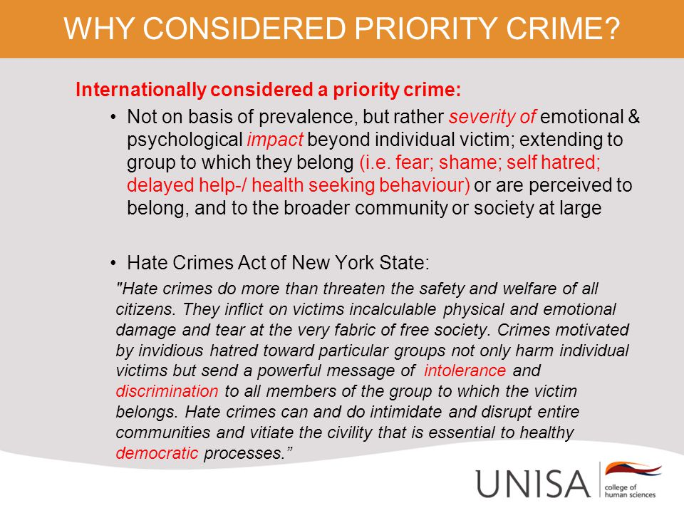 WHY CONSIDERED PRIORITY CRIME.