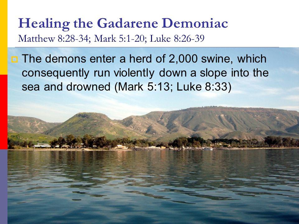 Healing the Gadarene Demoniac Matthew 8:28-34; Mark 5:1-20; Luke 8:26-39  The demons enter a herd of 2,000 swine, which consequently run violently do