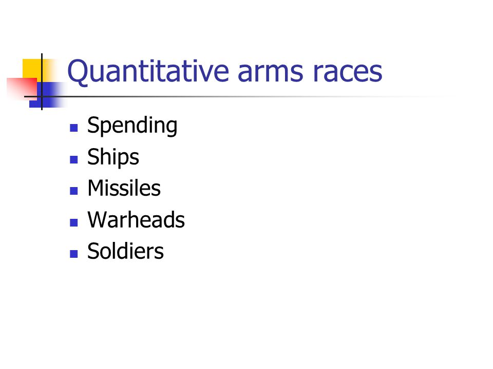 Arms Races - Types Quantitative Increased spending ($) Increases in system components (ships, missiles, warheads) Qualitative Changes in system type The New Look Star wars NMD