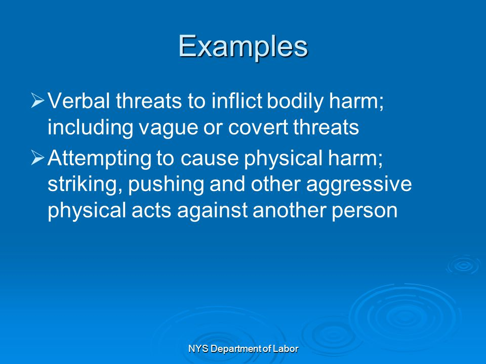 NYS Department of Labor Examples   Verbal threats to inflict bodily harm; including vague or covert threats   Attempting to cause physical harm; s