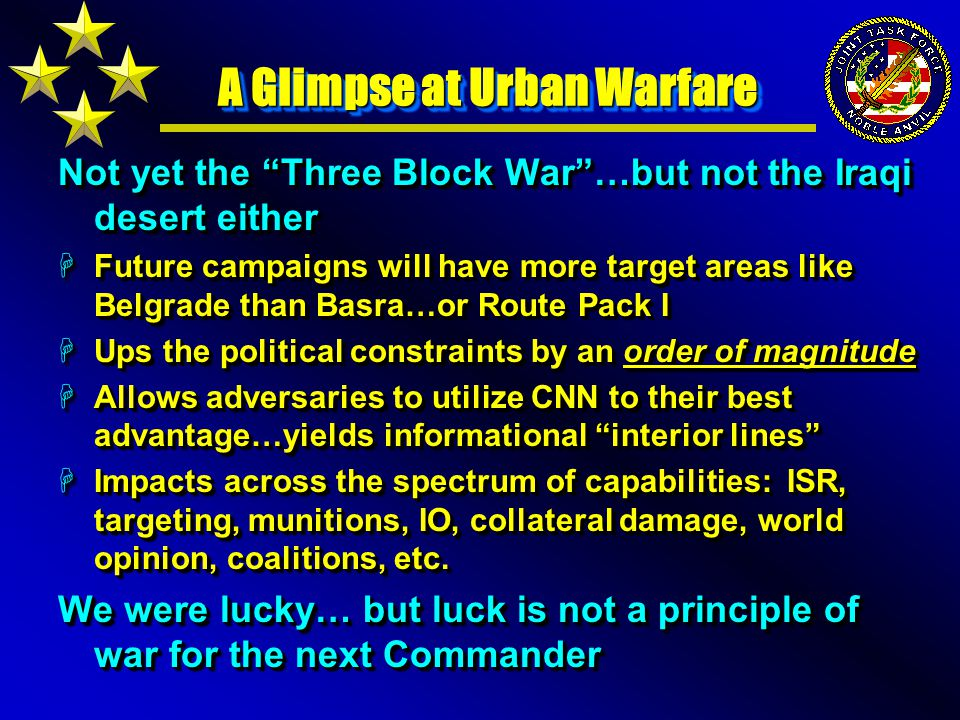 A Glimpse at Urban Warfare Not yet the Three Block War …but not the Iraqi desert either HFuture campaigns will have more target areas like Belgrade than Basra…or Route Pack I HUps the political constraints by an order of magnitude HAllows adversaries to utilize CNN to their best advantage…yields informational interior lines HImpacts across the spectrum of capabilities: ISR, targeting, munitions, IO, collateral damage, world opinion, coalitions, etc.