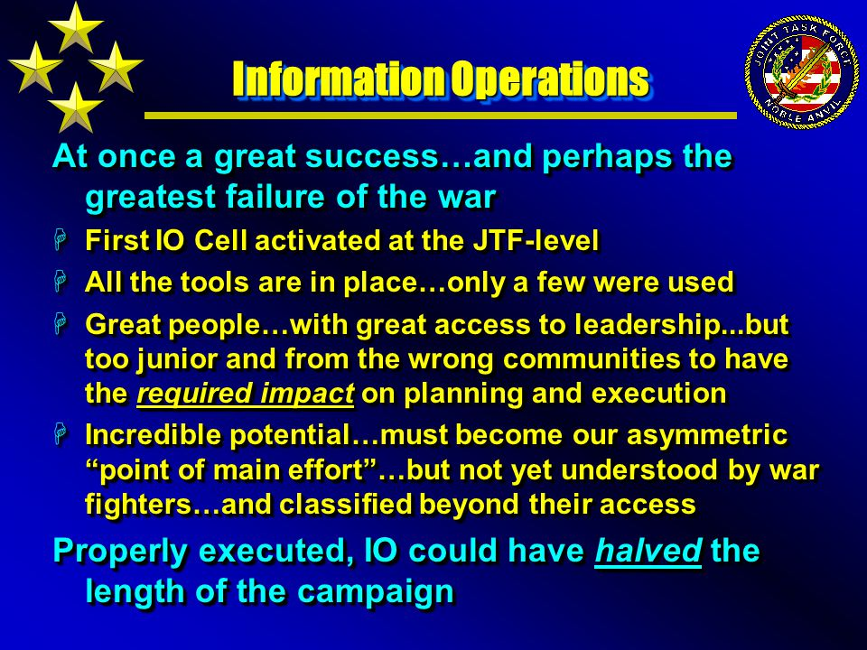 Information Operations At once a great success…and perhaps the greatest failure of the war HFirst IO Cell activated at the JTF-level HAll the tools are in place…only a few were used HGreat people…with great access to leadership...but too junior and from the wrong communities to have the required impact on planning and execution HIncredible potential…must become our asymmetric point of main effort …but not yet understood by war fighters…and classified beyond their access Properly executed, IO could have halved the length of the campaign At once a great success…and perhaps the greatest failure of the war HFirst IO Cell activated at the JTF-level HAll the tools are in place…only a few were used HGreat people…with great access to leadership...but too junior and from the wrong communities to have the required impact on planning and execution HIncredible potential…must become our asymmetric point of main effort …but not yet understood by war fighters…and classified beyond their access Properly executed, IO could have halved the length of the campaign