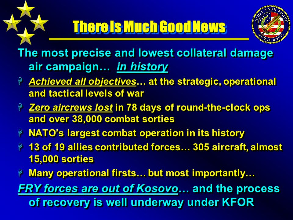 Self-Inflicted Wounds in Asymmetric Warfare The enemy benefited from: HThe NCA / NAC target approval processes HOur poor OPSEC posture (NATO and US) HOur inability to wage full IO campaign HOur self-suspension on cluster munitions HOur standards for limiting Collateral Damage HOur aversion to US casualties… and ground combat HOur reactive vs.
