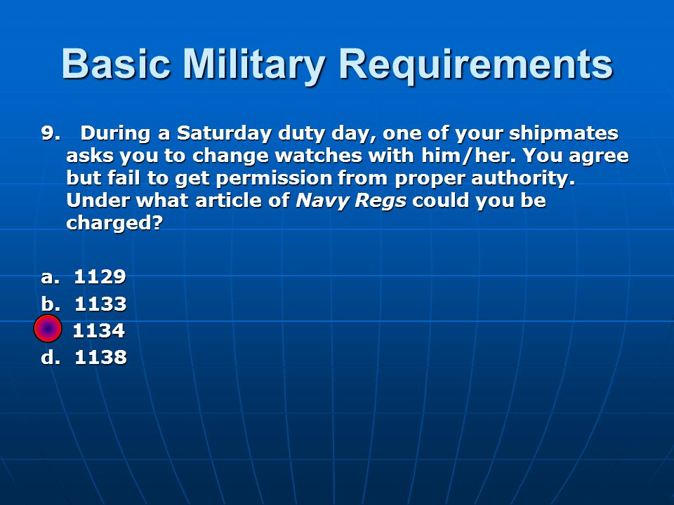 Basic Military Requirements 9.
