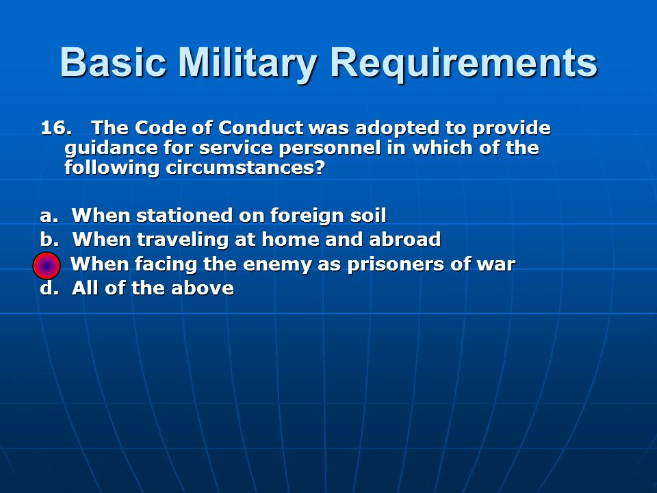 Basic Military Requirements 16.