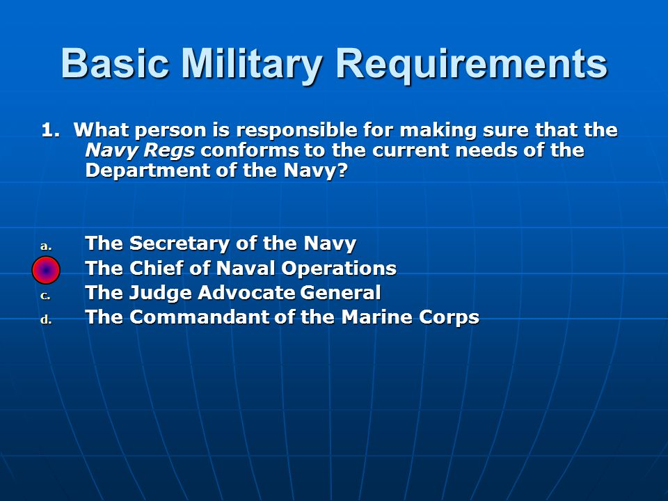 Basic Military Requirements 32.
