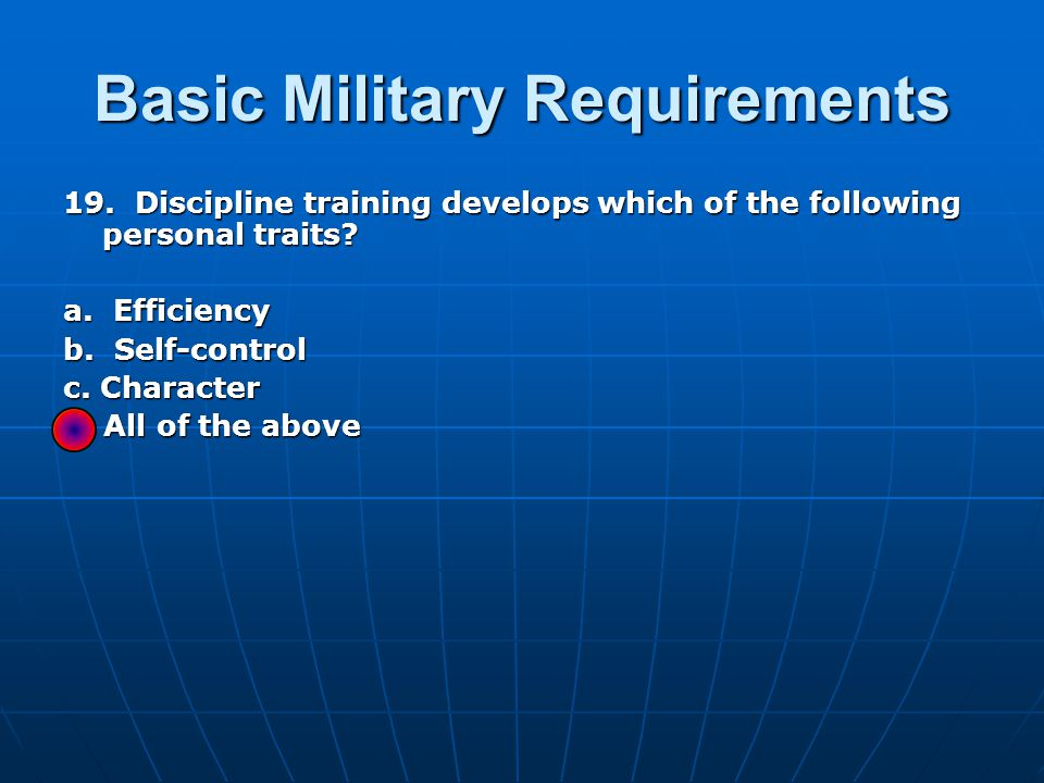 Basic Military Requirements 19.